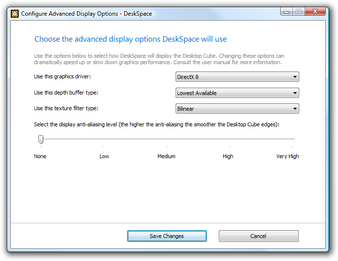 DeskSpace 1.5.8 - Configure Advanced Display Options