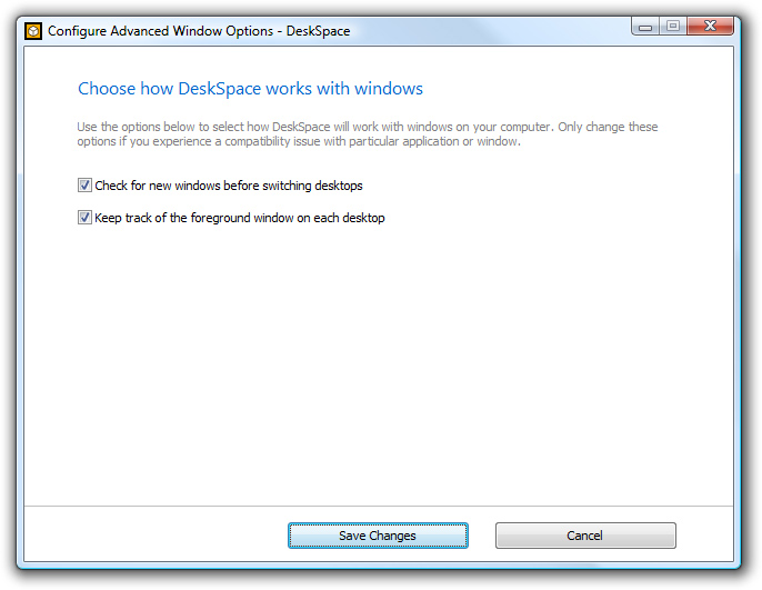 DeskSpace 1.5.8 - Configure Advanced Window Options