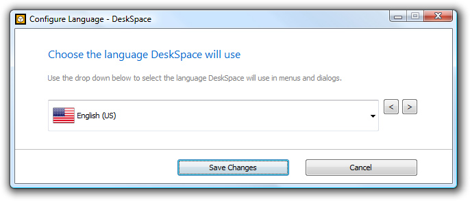 DeskSpace 1.5.8 - Configure Language
