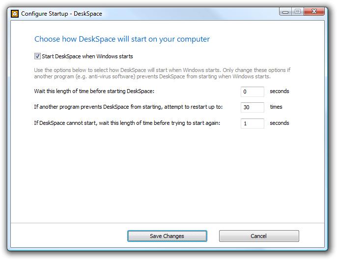 DeskSpace 1.5.8 - Configure Startup