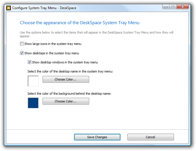 DeskSpace 1.5.8 - Configure System Tray Menu