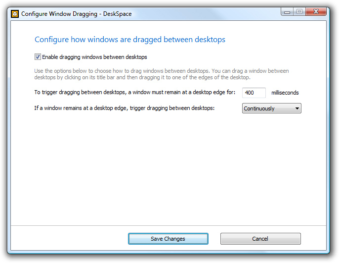 DeskSpace 1.5.8 - Configure Window Dragging