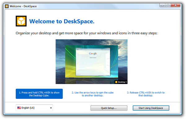 DeskSpace 1.5.8 - Welcome