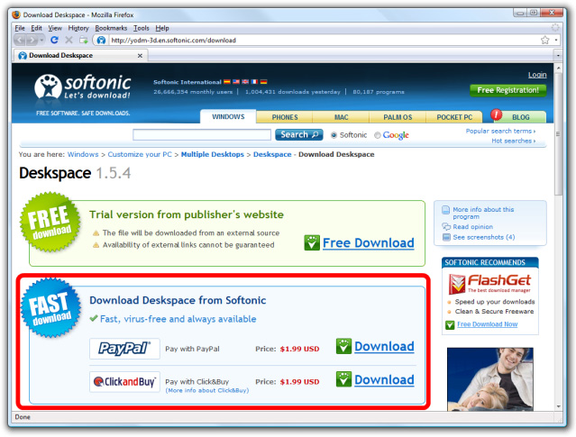 Softonic Download Scam.